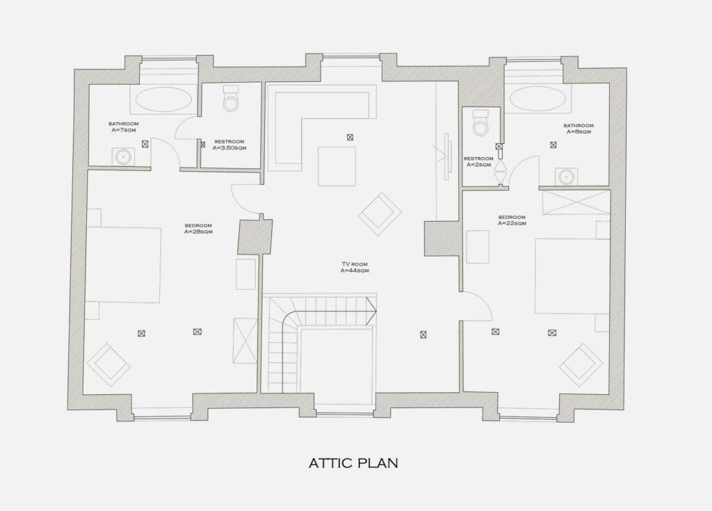 plan caretaker attic Bethlen estates